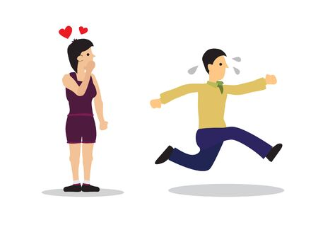 Woman in love with a man running away. Concept of force marriage, wedding stress, separation or harassment. Flat isolated vector illustration.