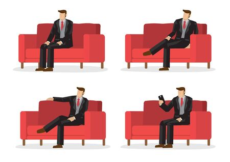 Set of business characters in four sitting positions on a sofa. Vector illustration design.