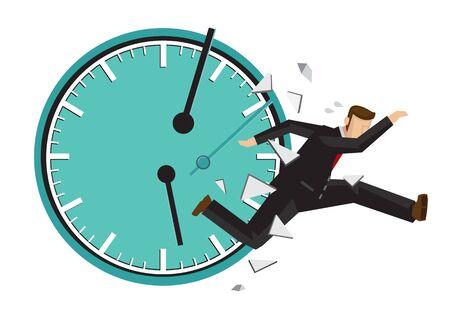 Hombre de negocios corriendo con un reloj roto detrás. Concepto de gestión del tiempo o urgencia. Ilustración de vector plano aislado.
