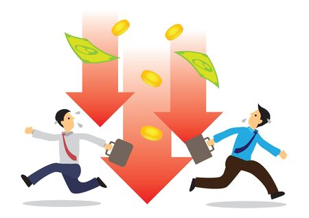 Businessmen running away from the crashing of dollar. Concept of recession or stock economy crash. Flat vector illustration.