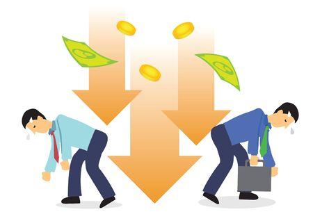Crashing of dollar onto businessmen. Concept of recession or stock economy crash. Flat vector illustration.