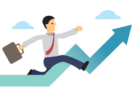 Businessman running up the upward arrow. Concept of growth or stock economy booming. Flat vector illustration.  イラスト・ベクター素材