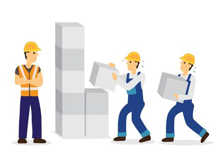 Construction workers working. Concept of working labour. Flat isolated vector illustration.