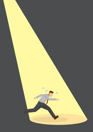 A worried businessman running away under the focus of industrial lights. Caught in the act for a culprit. Flat vector illustration Vektorové ilustrace