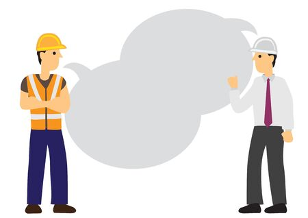 Conversation between the foreman and a construction worker with empty speech bubble. Flat vector isolated illustration.  イラスト・ベクター素材