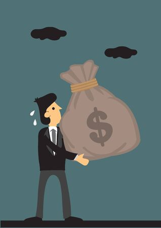 Business professional hand carries a big bag with dollar sign on it. Vector illustration on business and finance concept. Illustration