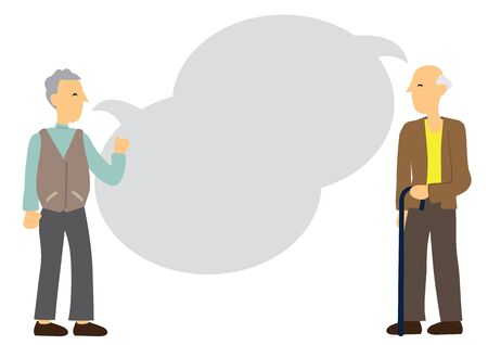 Two elderly friends talking with empty speech bubble. Concept of retirement, friendship or aging discussion. Flat vector illustration.