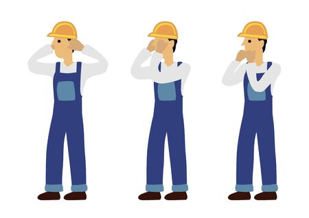 Construction man in three expression of see no evil, speak no evil and hear no evil. Concept of wisdom or ignorance. Flat isolated vector illustration.