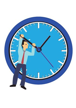 Businessman hanging on a clock. Concept of time management or urgency. Flat isolated vector illustration.