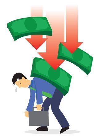 Crashing of dollar onto businessman. Concept of recession or stock economy crash. Flat vector illustration.