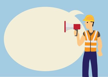 Construction worker with a megaphone and a giant speech bubble against a blue background. Concept of announcement or reporting. Flat vector illustration.