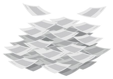 Messy documents flying around. Stack of documents. Concept of paperwork, business document. Vector illustration.