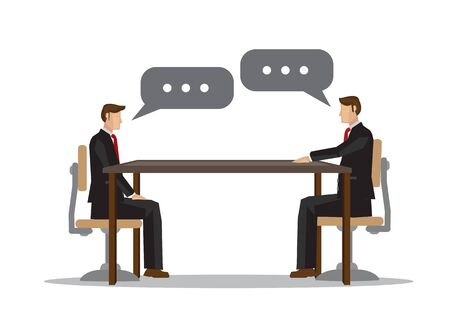 Two businessman talking with each other in the office. Concept of meeting, collaboration or corporate communication. Flat cartoon design