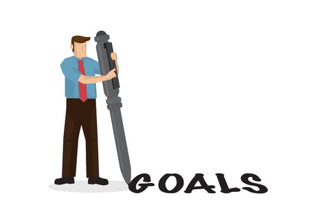 Businessman writes goal word with his giant pen. Concept of management or goal efficiency. Flat design  イラスト・ベクター素材