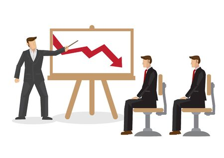 Businessman talking with his coworkers about the drop in sales. Concept of corporate lost. Flat isolated vector cartoon illustration.