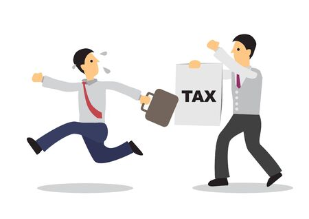 Businessman running away from person with a tax paying paper. Business concept of escape or debt. Flat isolated vector illustration.