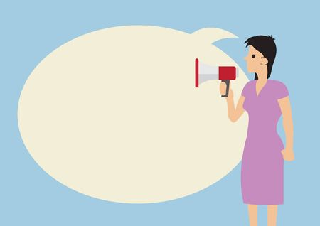 Woman with a megaphone and a giant speech bubble against a blue background. Concept of communication or announcement. Flat vector illustration.