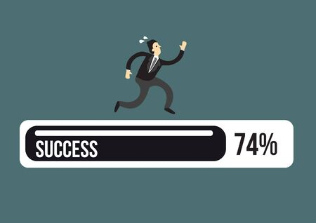Exhausted business executive in suit running on a success progress bar. Vector illustration Banco de Imagens - 131341311