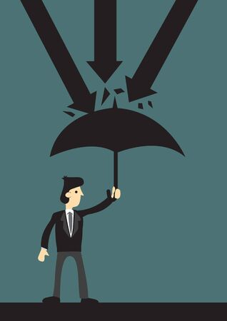 Businessman holding an umbrella protecting himself from danger. Concept of security, business and economic protection. Vector illustration.  イラスト・ベクター素材
