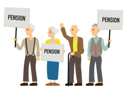 Group of demonstrators with Pension boards. Concept of anger or revolution. Flat isolated vector illustration