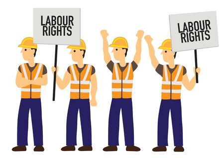 Group of demonstrators with Labour rights boards. Concept of anger or revolution. Flat isolated vector illustration Çizim