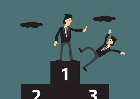 Cartoon businessman standing the first place on three-level podium pushing away his competitor. Creative vector illustration on metaphor for getting rid of business competitor.