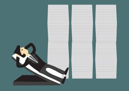 Happy businessman relaxing at his chair with giant stack of documents behind him. Concept of business growth and managing a profitable business. Vector cartoon illustration. Stock Illustratie