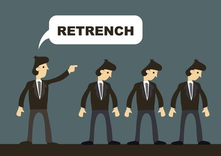 Business professionals order to leave by employer. Concept of retrenchment. Cartoon vector illustration on company restructuring exercise.