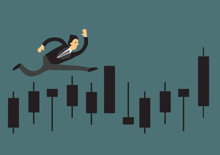 Businessman running for on a business graph. Concept for growth and achievement. Business vector illustration.