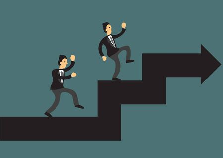 Businessman climbing up the giant arrow. Concept of business growth, corporate challenge or leadership. Isolated vector illustration.