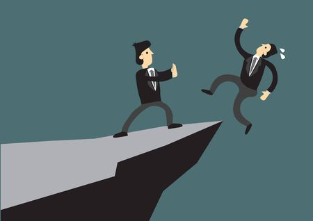 Business man pushing his competitor off the cliff. Concept of competition, sabotage and danger of the corporate business world. Vector cartoon illustration. Ilustração