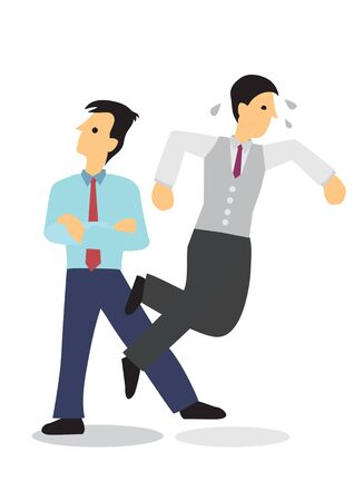 Businessman sabotage his colleague. Concept of corporate bully or bad office ethics. Isolated flat vector illustration.