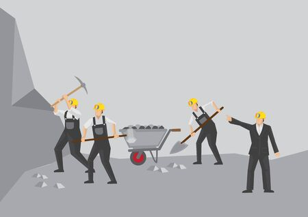 Businessman order his miners to work faster. Vector illustration. Фото со стока - 131652389