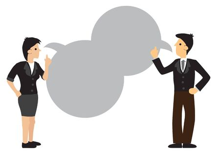 Businessman and woman having a communication with empty speech bubble. Flat isolated vector illustration.