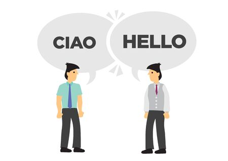 Two businessmen communicate in different languages. Concept of international business or corporate collaboration. English and Italian. Flat vector isolated illustration. Ilustração