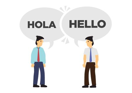 Two businessmen communicate in different languages. Concept of international business or corporate collaboration. English and Spanish. Flat vector isolated illustration. Ilustração