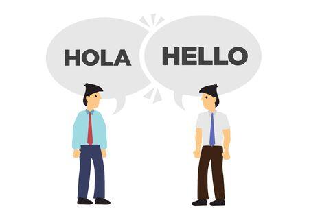 Zwei Geschäftsleute kommunizieren in verschiedenen Sprachen. Konzept der internationalen Geschäfts- oder Unternehmenszusammenarbeit. Englisch und Spanisch. Flache Vektor-isolierte Illustration.