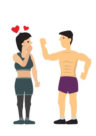 Strong fit man admired by a woman. Concept of flirting and searching for love. Flat isolated vector illustration.