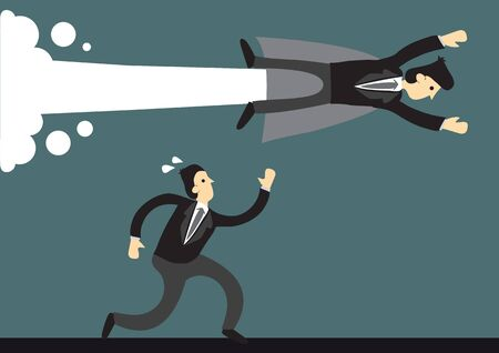 Business man flying past a running businessman. Concept of the speed and achievement of super human business leader over normal business man. Vector cartoon illustration.