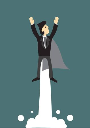 Super business man flying into the sky. Business concept of success, power and overcoming of difficulties. Vector Illustration.