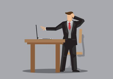 Business man in suit worry about the error in his computer at his office desk. Concept of entrepreneur and working. Vector illustration.