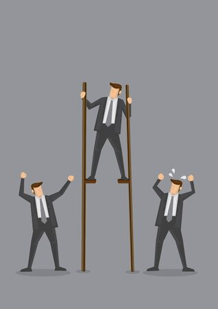 Businessman standing on stilts to get to top position and upset co-workers. Creative conceptual vector illustration for business metaphor. Stock Illustratie