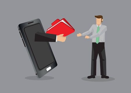 Cartoon business professional receive a folder from someone over mobile phone. Creative vector illustration on using technology for business concept isolated on grey background.