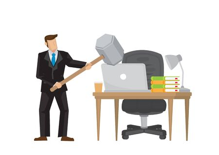 Businessman angry with his computer and smashing with a hammer. Concept of frustration worker in his workplace. Vector illustration.