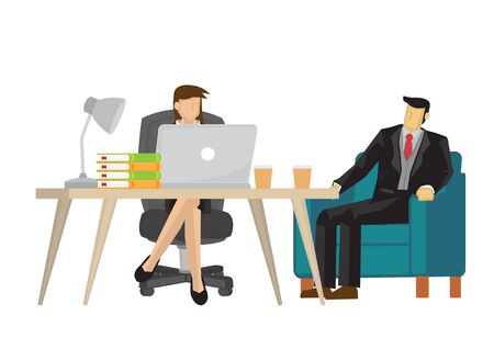 Businessman talking with his secretary. Concept of corporate consulting, meeting, interview, argument or business communication. Isolated vector illustration.