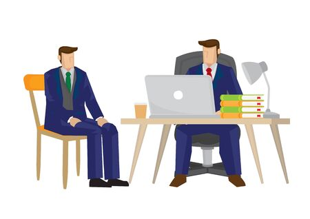 Boss interview candidate for a vacancy for his company. Concept of job recruitment. Vector illustration.