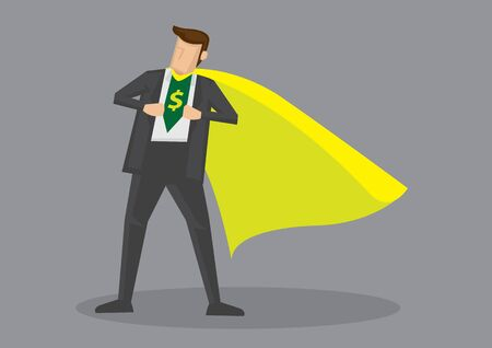Cartoon man wearing yellow cape opening his shirt to reveal dollar sign. Creative vector illustration on metaphor for financial savvy or expert isolated on grey background. Ilustração