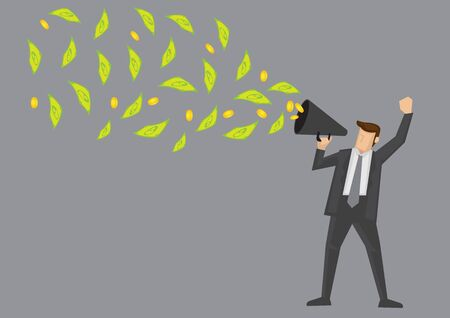Cartoon businessman holding a megaphone with dollar notes and gold coins coming out of it. Creative vector illustration on financial concept isolated on grey background.