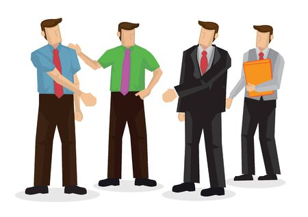 Businessmen introduce his business friends. Concept of networking, cooperation or collaboration. Flat isolated vector illustration.