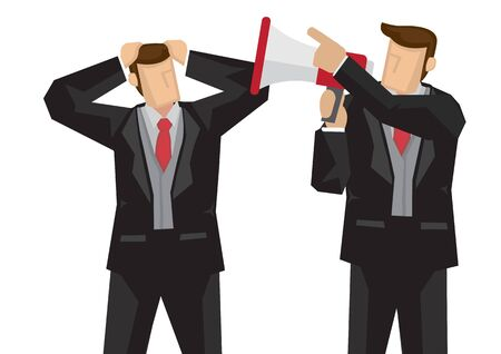 Businessman scolding another businessman with a megaphone. Concept of office politics or competition. Flat isolated vector illustration.
